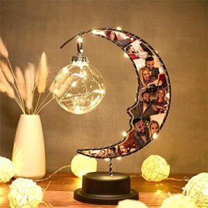 Lampe de lune Personnalisée Photo Veilleuse Impression 6 Photo Veilleuse Personnalisé Veilleuse Cadeau De Noël pour Femmes/Hommes(Lune)