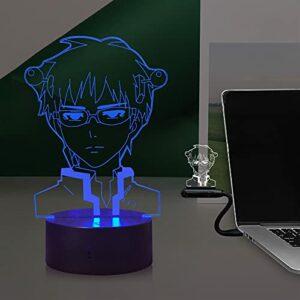 Laysinly La vie désastrée de Saiki K Japan Anime Figurine 3D Veilleuse 16 couleurs changeantes 4 modes Charge USB Alimentation par batterie Contrôle tactile Ventilateur Cosplay Party Sleep Lamp