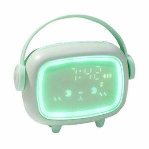 LYWYOUDDKH Réveil numérique Mignon pour Enfants avec Table de veilleuse réveil horloges décor à la Maison – Vert
