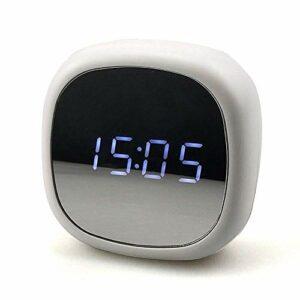 NC Miroir Réveils De Chevet, Veilleuse LED Réveil Numérique LED Lumineux Vanité Maquillage Miroir Veilleuse Réveil Électronique Réveil De Charge USB