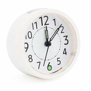 NC Réveil de Chevet Silent Snooze Analogique Durable sans tic-tac Lumineux à Piles Lampe de Bureau Conception Wake Up -Blanc