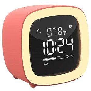 NC Réveil numérique New-Mignon-TV Veilleuse Réveil pour Enfants Filles Ados Chambre Chevet Bureau avec RechargeableBatter