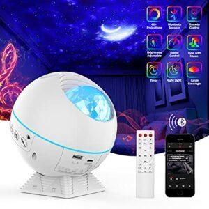 Projecteur étoilé – Veilleuse – Haut-parleur Bluetooth intégré et télécommande – Design minuteur – Luminosité et angle réglables – Lampe LED nuage lune océan pour la maison – Blanc