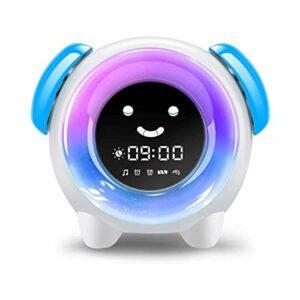 QIYE Réveil Chat pour Enfants, Horloge d'entraînement au Sommeil pour Tout-Petits, 8 veilleuses et lumière de réveil, réveil, veilleuse et Machine à Sons de Sommeil, Le Cadeau Parfait