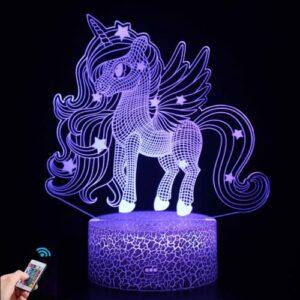Riontto Veilleuse licorne 3D, lampe 3D 16 couleurs changeantes avec télécommande Noël Halloween cadeau d'anniversaire pour chambre enfant bébé garçon fille