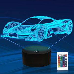Veilleuse 3D de voiture pour enfant, Attivolife Sports Racing Illusion Lampe de chevet optique 16 couleurs changeantes avec télécommande Décoration de chambre pour enfants