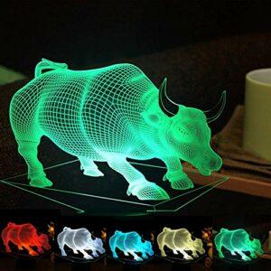 Veilleuse 3D en forme de vache avec illusion d'optique, 7 couleurs changeantes, lampe de table LED pour Noël, maison, anniversaire, enfant, jouet