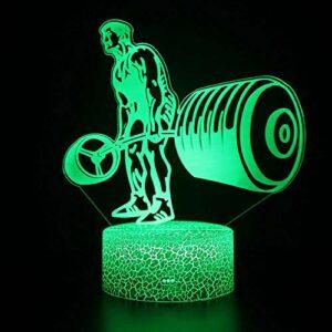 Veilleuse 3D LED magique pour haltérophilie, télécommande à changement de couleur – Cadeau créatif pour les enfants