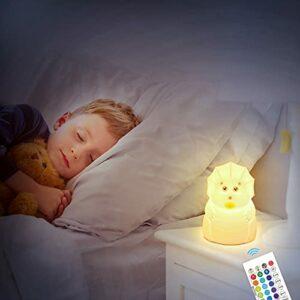 Veilleuse à LED pour enfants, Veilleuse à LED RVB 16 Lampe en silicone à changement de couleur pour animaux avec crochet pour bébé en bas âge, adolescentes, garçons, enfants