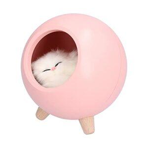 Veilleuse en forme de boule, veilleuse de chevet longue endurance pour chambre à coucher pour les amoureux des chats(rose)