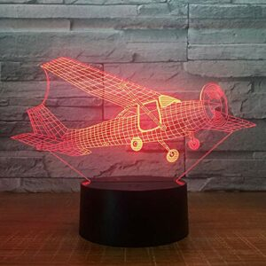 Veilleuse LED 3D en forme d'avion avec illusion d'optique – 7 couleurs – Sculpture artistique – Avec câbles USB – Pour chambre à coucher, bureau, table – Pour enfants et adultes