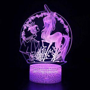Veilleuse licorne 3D à LED magique, télécommande à changement de couleur – Cadeau créatif pour enfants