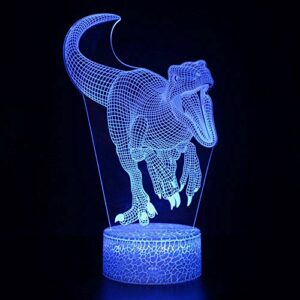 Veilleuse magique 3D à LED en forme de dinosaure, télécommande à changement de couleur, idée cadeau créative pour les enfants